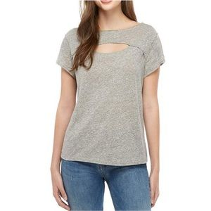 Free People Cut Out Tee June Linen Gray New Large